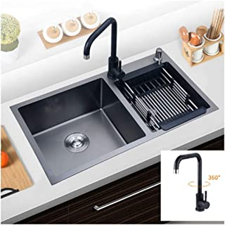 QingH yy Évier De Cuisine en Nano Noir Double Vasque en Acier Inoxydable Bassin Encastré avec Filtre for Drain 0728