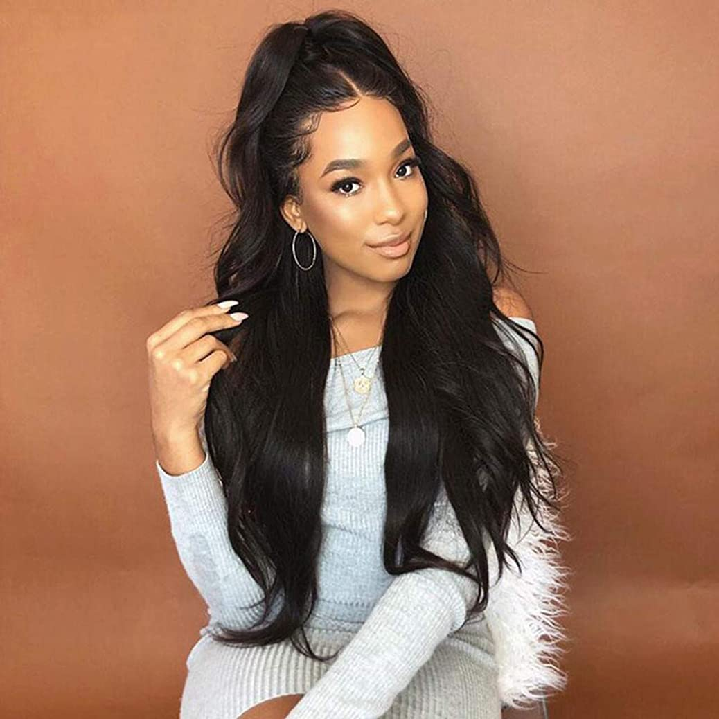 Dowager Hair Black Color Lace Front Wigs Long Body Wave Hair Glueless Synthetic Lace Front Wigs for Black Women ipvfgspnra