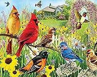 大人のための大きな鳥の木製ジグソーパズル1000ピース庭の鳥フラワーアート 動物部屋の装飾の3D画像クリスマスプレゼント