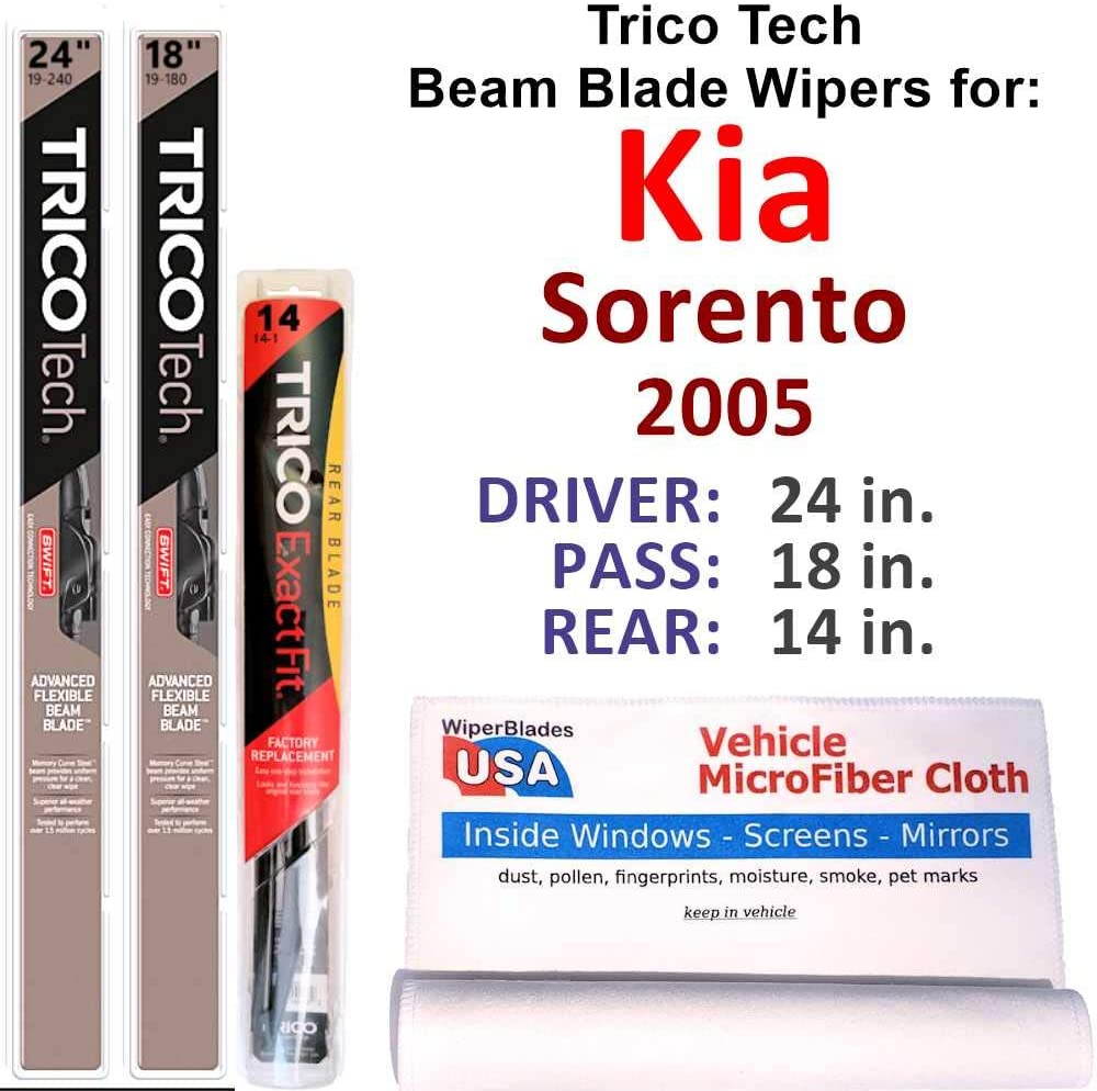 Beam Blades Wipers Max 87% OFF for 2005 Kia Max 51% OFF Sorento Set w Be Trico Tech Rear