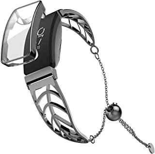 UooMoo Band and Case Compatible with Fitbit Inspire/Inspire HR, Leaf Shape Stainless Steel Bracelet Women for Fitbit Inspi...