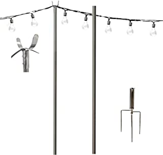 TALITARE Outdoor Pole Stainless Steel Tripod Holder for String Lights Hanging Lightweight Decoration LED or Solar Bulbs in Patio Café Wedding Party