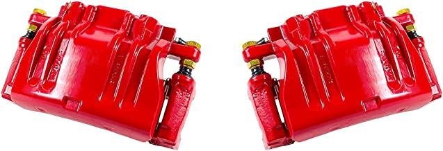 CCK12634 [2] FRONT Performance Grade Red Powder Coated Semi-Loaded Caliper Assembly Pair Set