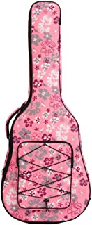 DSstyles 40/41 Inch Fashion Folk Acoustic Guitar Bag Canvas Guitar Backpack Carrying Case 40/41 inch pink flowers