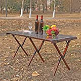 ZHONGLU CRAFTS Folding Table Camping Table Picnic Bench Portable Outdoor Indoor Wooden Picnic Table,Travel, Beach,Garden BBQ-Table in a Bag(Torched Brown)