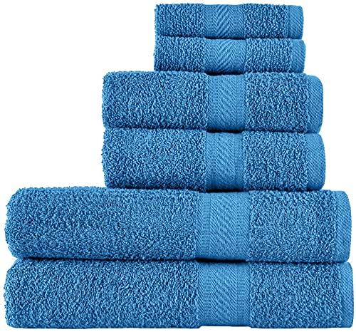 SweetNeedle -Uso diario Juego de toallas de 6 piezas, azul cian -2 toallas de baño 70x140 CM, 2 toallas de mano 50x90 CM, 2 paño de lavado 30x30 CM - Algodón 100% ringings, peso pesado y absorbente