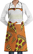 Food Pizzas Print Aprons Bib Adjustable Polyester Unisex Long Full Kitchen Chef Cooking Gardening Apron for Indoor Restaurant BBQ Serving Grill Cleaning Crafting Baking