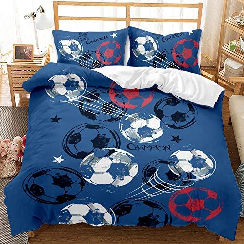 Impresión de Fútbol Juego de ropa de cama a Cartas de Póquer, funda nórdica con cremallera, microfibra suave con funda de almohada de 50 x 75 cm, para niños y mujere/E / Twin175*218cm