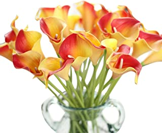 Artificial Flowers, Fake Flowers Artificial Calla Lily Bridal Wedding Bouquet for Home Garden Party Wedding Decoration 12Pcs (Red&Yellow)