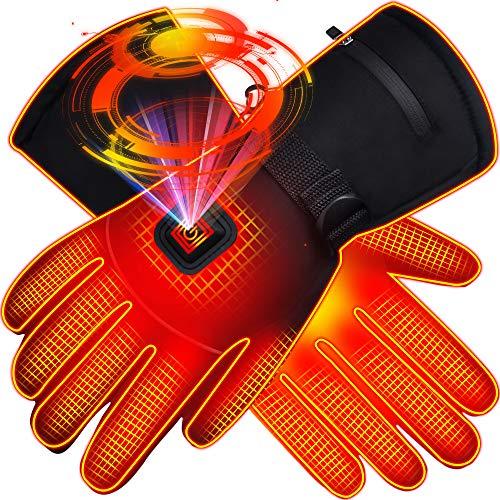 Svpro Guantes con calefacción eléctrica Thinsulate Aislamiento Calentador de Manos, Batería a Prueba de Viento Guantes de Senderismo con calefacción Escalada Esquí Snowboard. (L)