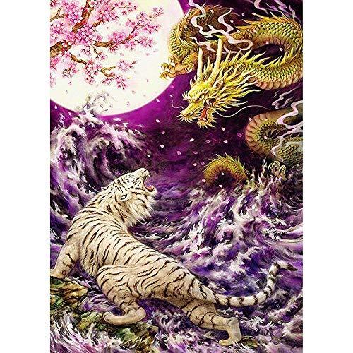 WZZPSD Puzzle 1000 Pezzi Tigre Bianca Cinese di Combattimento del Drago Salotto Puzzle in Legno Fai da Te Stile Regalo per La Casa