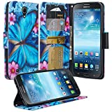 Galaxy Wireless Cases Compatible for Galaxy Mega 6.3, Samsung Galaxy GT-I9200 I9205 i527 Mega 6.3 Case Wallet Flip Folio [Kickstand] Pu Leather Wallet Case ID & Card Slot, Blue Butterfly