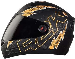 Steelbird SBA-1 R2K LIVE Full Face Helmet in Matt Finish with Smoke Visor (Medium 580 MM, Matt Black/Orange)