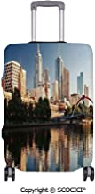 SCOCICI Anti-scratch Baggage Luggage Cover Protector Idyllic View of Yarra River Melbourne Australia Architecture Tourism Multi-function Travel Suitcase Cover (Cover ONLY, Suitcase NOT Included)