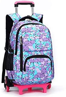 GLJJQMY Travel Bag Backpack Student Trolley Bag Three-Wheeled Mountaineering Large Capacity Men and Women Suitcase Trolley Backpack (Color : Floral Heart Shape, Size : 49x18x32cm)