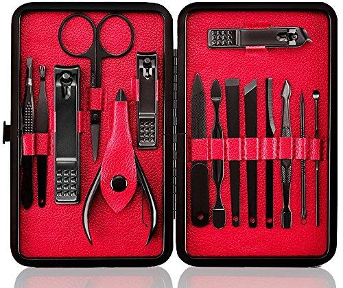 Tagliaunghie Set Professionale - Grooming Kit Strumenti per Manicure e Pedicure 15pcs con Box (Nero Rosso)