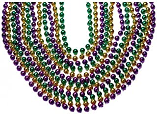 Toomey's Mardi Gras 7.5MM Round Throw Beads 33-Inch Length and 60 Dozen Quantity, Assorted Colors – M-33.7.5 ROUND PGG