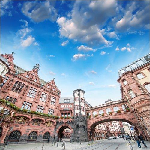 Posterlounge Acrylglasbild 50 x 50 cm: Frankfurt - mittelalterliches Gebäude in der Altstadt von Editors Choice - Wandbild, Acryl Glasbild, Druck auf Acryl Glas Bild