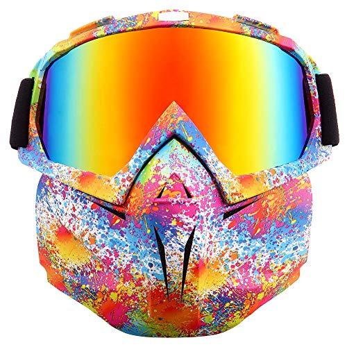 Gafas de moto SPOSUNE desmontables, máscara facial, para ATV Dirt Bike Motocross MX Riding Paintball gafas a prueba de polvo UV400 con espuma suave, correa ajustable para hombres y mujeres