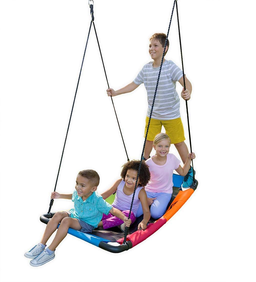 HearthSong ColorBurst Round Outdoor Platform Tree Swing for Yard or Playground Sturdy Steel Frame Durable Mat Bottom 24 Dia with Two Ropes 250 LB Weight Capacity