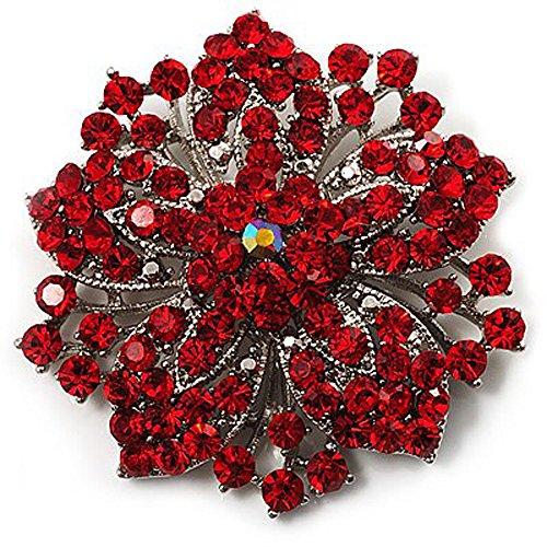 Broche de flor con brillantes, color rojo