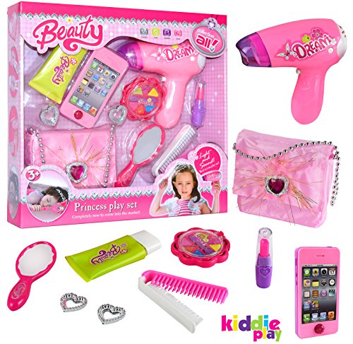 Kiddie Play Pretend Play Girls Beauty Salon Fashion Toy Set with Hairdryer, iPhone, Purse & Beauty Accessories