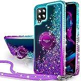 Miss Arts Funda Samsung Galaxy A42, [Silverback] Carcasa Brillante Purpurina con Soporte giratorios, Transparente Cristal Telefono Fundas Case Cover para Samsung Galaxy A42 -PÚRPURA