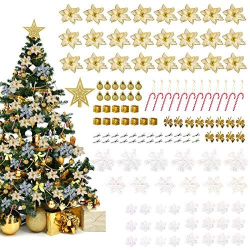 LIHAO 133 Ornements Sapin de Noel Fleurs Artificielle Pailletées Suspension Flocon de Neige Boule de Noël Sucre d'orge Topper d'étoile pour Décoration Arbre de Noël