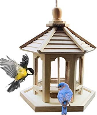PINVNBY Bird Feeder Hanging Hexagon Shaped Gazebo Wild Bird Feeder with Roof for Parrot Sparrow Garden Yard Outdoor Decoration