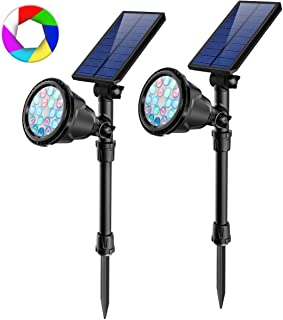 JSOT Outdoor Solar Spotlights, 2-in-1 Adjustable Solar Spot Light Waterproof RBG Colored Changing & Single 7 Fixed Color Landscape Lights Bright 18 LED Stake Floodlight for Tree Garden Decorations