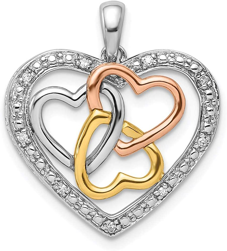 Charm All items free shipping Pendant White Sterling Silver Safety and trust Rose Diamond Rhodium With