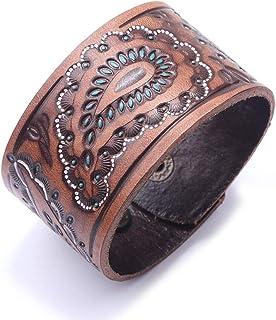 DENTRUN Adjustable Retro Genuine Leather Bracelet Punk Style Men Jewelry Vintage Wristband Coffee