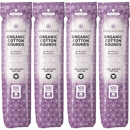 SoulSation Organic Cotton Rounds, 400 Count - Makeup Remover Pads for Face, Lint-Free