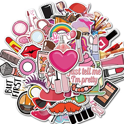 50 Stks Pretty Meisje Cosmetica Stickers Decal Lipstick Parfum Hoge Hakken Patroon Diy Laptop Koffer Leuke Stickers