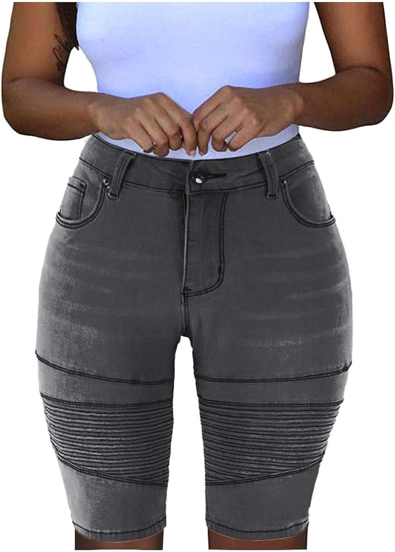 Gergeos Women Mid Rise Elastic Zip Skinny Denim Shorts Knee Length Skinny Stretch Shorts Jeans
