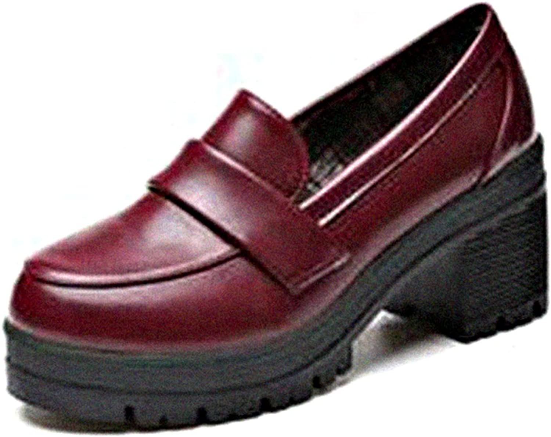 GilesJones Loafers Flats Women,Casual Round Toe Slip On Thick Heel Platform shoes