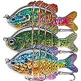 TANJULURE Fishing Lures for Bass Multi Jointed Swimbaits Slow Sinking Bionic Lifelike Swimming Bass Lures Freshwater Saltwater Bass Fishing baits Kit 3Pcs