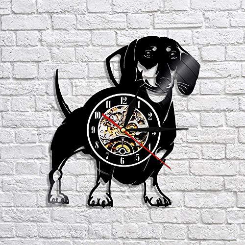 1 Stück Wirehaired Dackel Hund Vinyl Schallplatte Wanduhr Dackel Wiener Hund Wanduhr Tier Haustier Mops Welpe Hundeliebhaber Geschenk-Keine