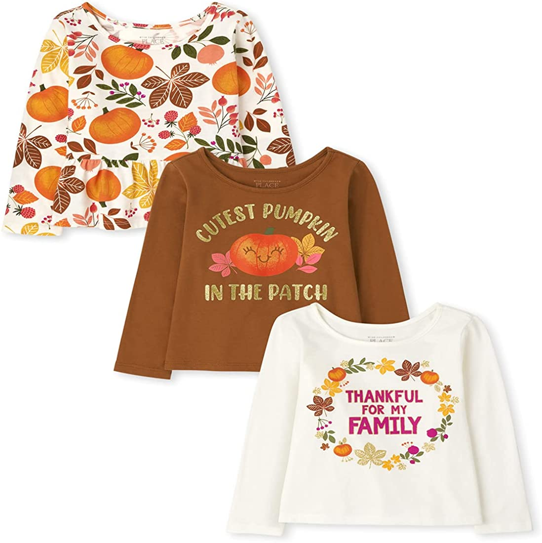 The Children's Place Baby Toddler Girl Long Sleeve Harvest Top 3-Pack
