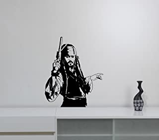 Captain Jack Sparrow Vinyl Decal Removable Sticker Pirates of the Carribean Wall Art Decorations for Home Room Bedroom Movie Decor cjs2
