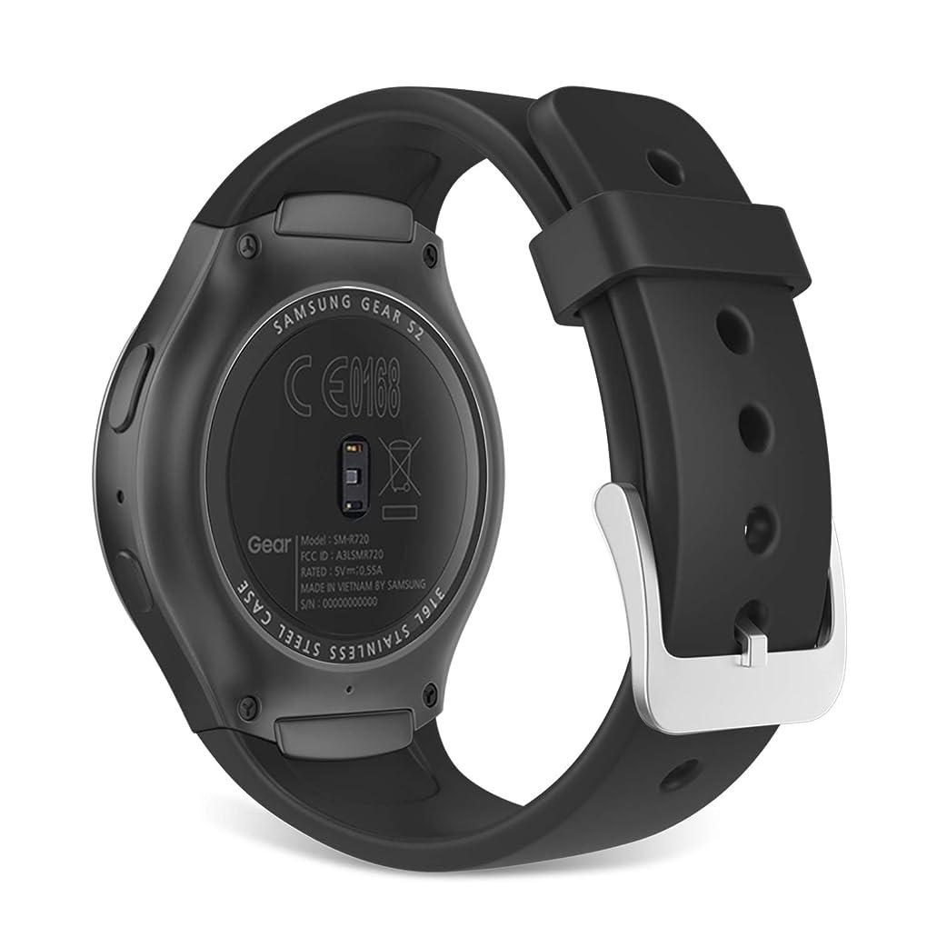 種類瞳餌Dadanism Samsung Gear S2 スマートウォッチバンド 交換用バンド 腕時計バンド シリコン製 S2 SM-R720 / SM-R730に適用 (Gear S2 SM-R732 / SM-R735 / Gear Fit2に適用できません) Black