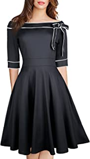 Women's Casual Off Shoulder Pocket Bowknot Rockabilly Swing Vintage Cocktail Party Dress 188