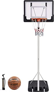 "Cozyfit Portable Basketball Hoop & Goal Basketball System Basketball Equipment Height Adjustable 83""-125"" Come with Basketball & Ball Pump for Youth Kids Indoor Outdoor Use (83)"