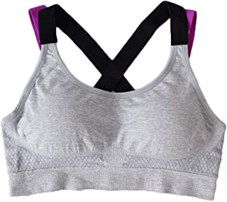 ZYDP Women's Seamless Sports Bra High Impact Full Support Crossback Workout Gym Activewear Crop Top (Color : Gray, Size : M)
