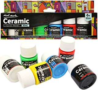 Mont Marte Ceramic & Porcelain Paint Set - 6 Pieces x 20ml - Water Resistant Ceramic Colors Paints - Ideal for Painting Cups, Vases and Bowls - Perfect for Beginners and Professionals