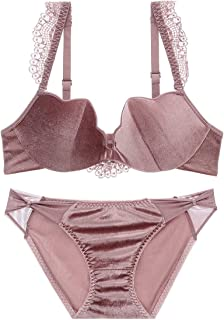 Care Gathered Sexy Bra Set Velvet Sweet, Sponge, no Steel Ring, Adjustable Chest Underwear, Four Rows of Two Buckles. Clos...