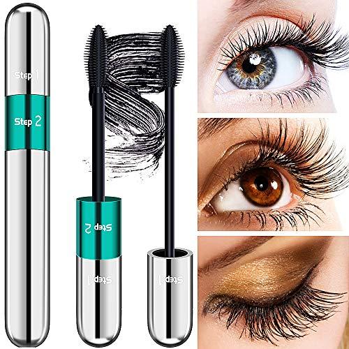 4D Lash Extension Mascara - DRMODE Waterproof Silk Fiber Volume Mascara, Natural and False Lash Look in One Mascara, Long Lasting Mascara for Definition - Noir