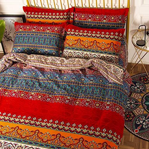 YOU SA Bohemia Retro Printing Bedding Ethnic Vintage Floral Duvet Cover Boho Bedding 100% Brushed Cotton Bedding Sets (King,01)