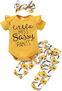 Renotemy Newborn Infant Girl Clothes Baby Little Sassy Outfits Ruffle Romper Floral Pants Cute Toddler Baby Girl Clothes
