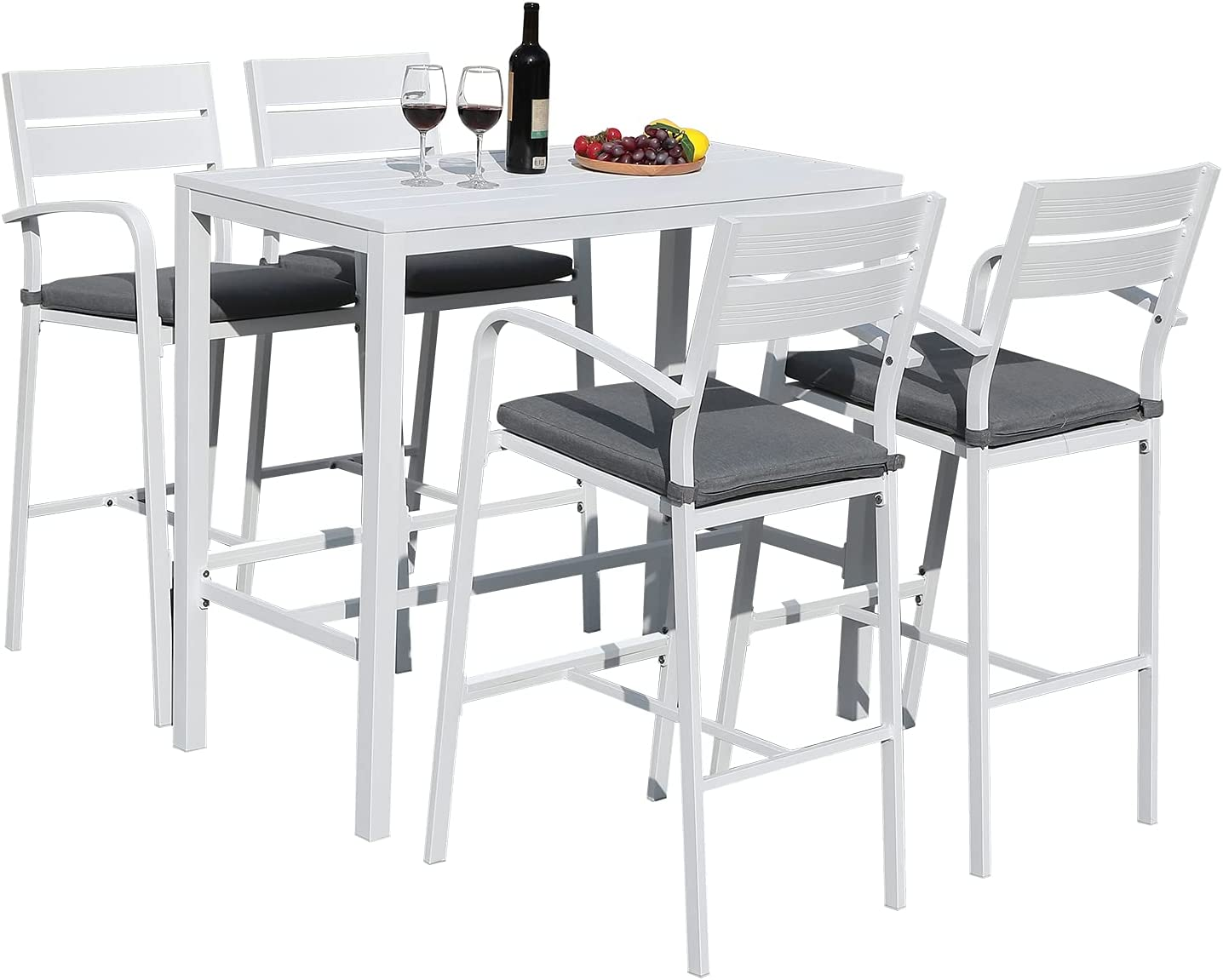 Soleil Jardin Outdoor Aluminum 5-Piece Bar Set, Dining Bistro Pub Set, Patio Bar Height Chairs with Cushion & Slatted High Top Table for Backyard Garden Pool, White